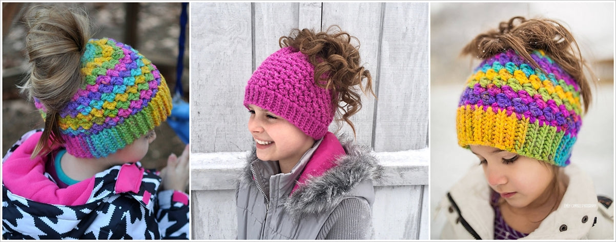 Colorful crochet beanies with buns