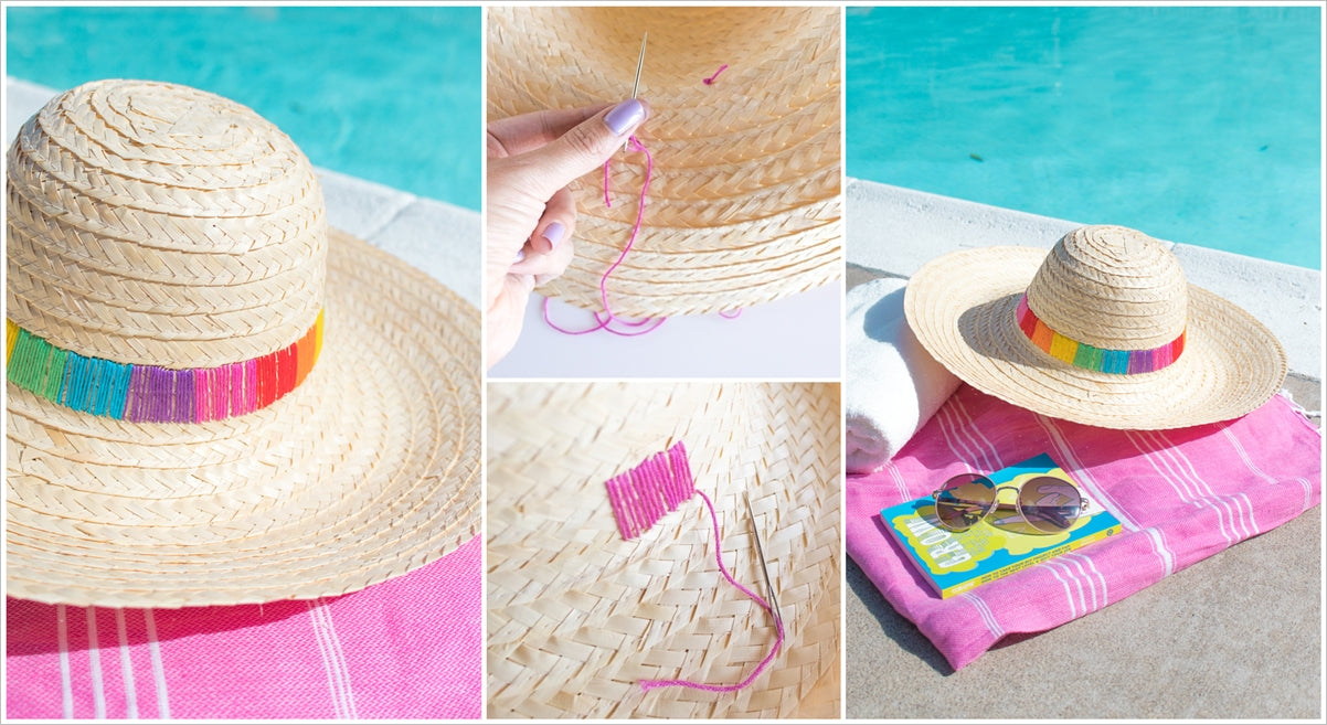 Straw hat with rainbow embroidery