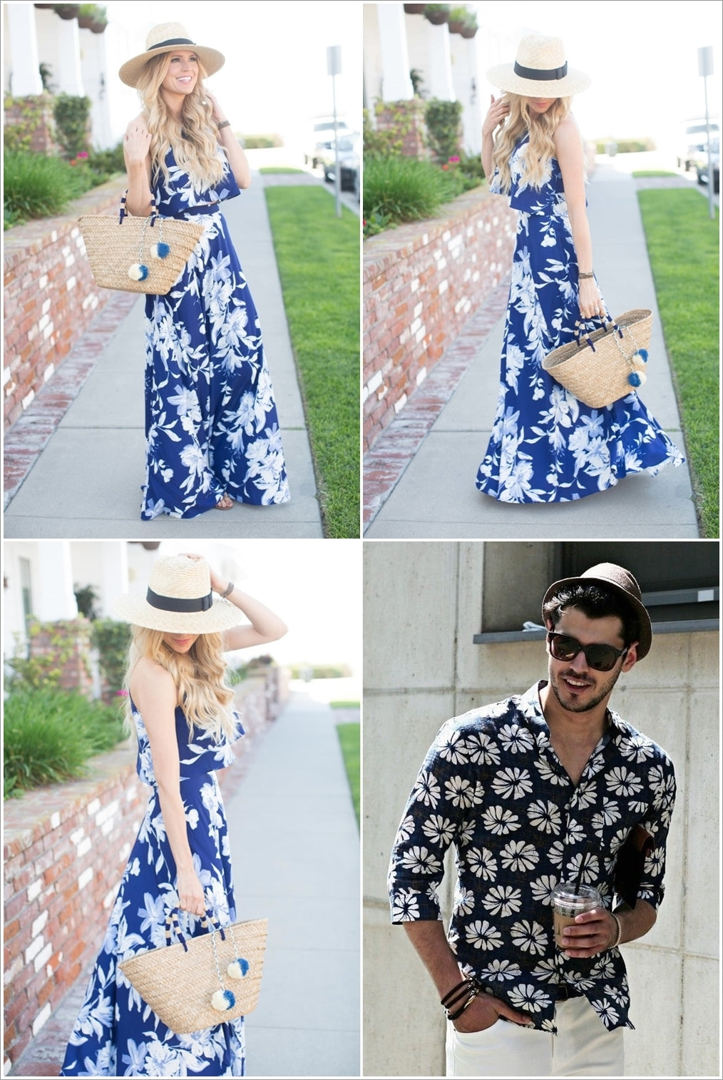 Bold prints and straw hats
