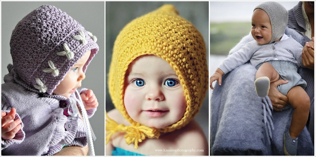 colorful crochet bonnets