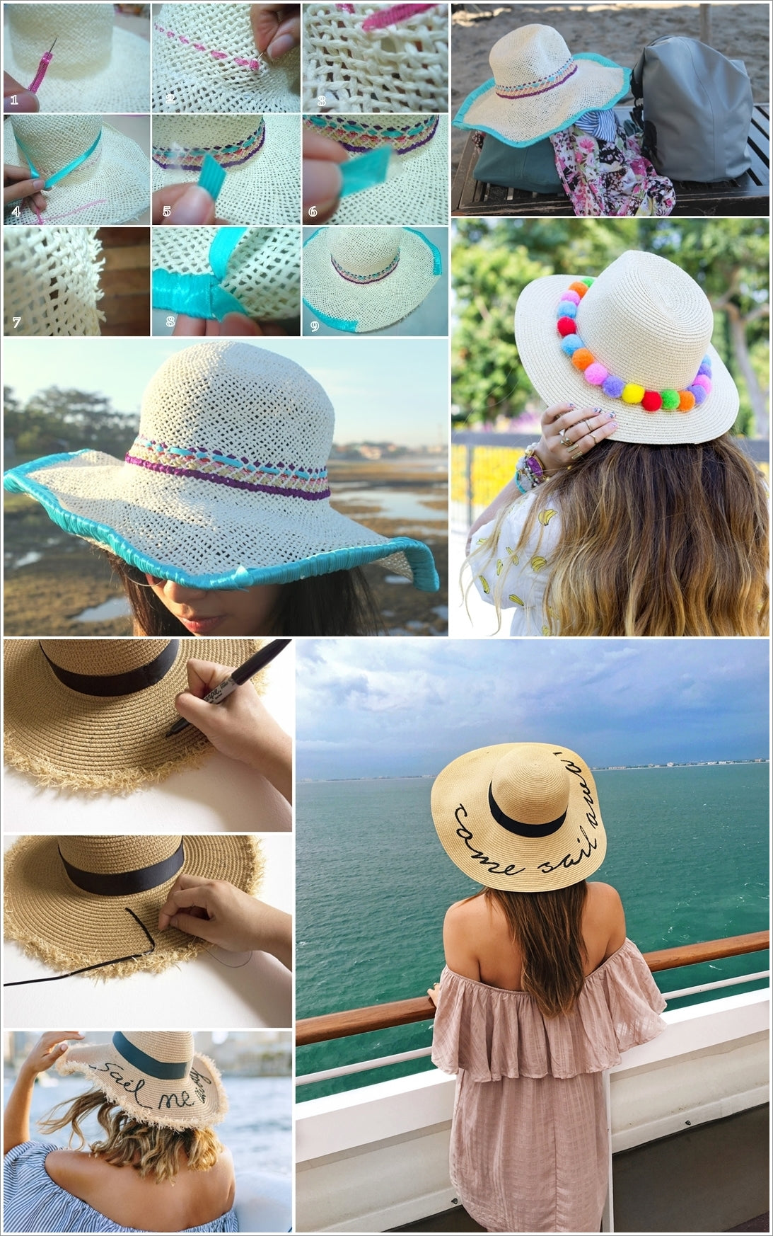 DIY straw hat makeovers