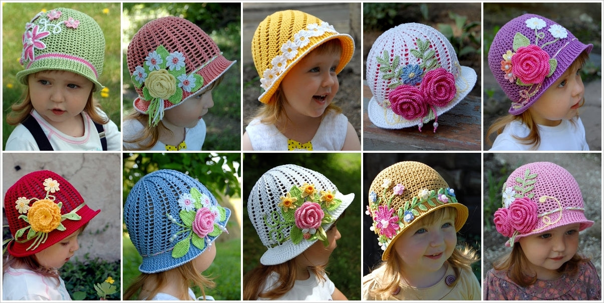 crochet flower panama hats