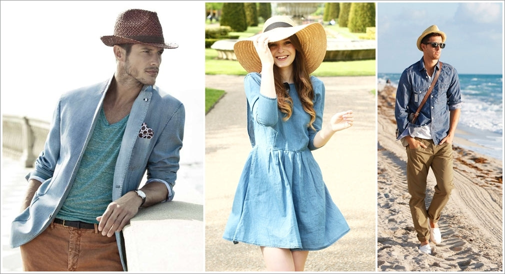 straw hats with denim