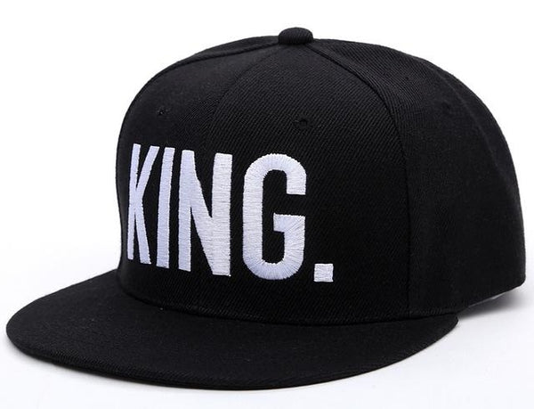 king embroidered snapback hat