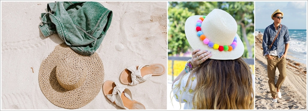 straw hats to wear at the beach