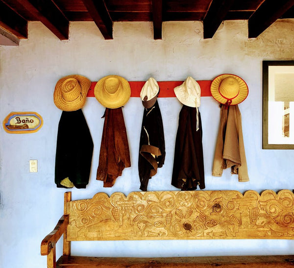 hat display on wall