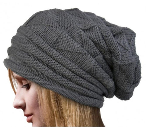 oversized knitted wool beanie
