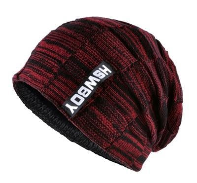 plaid pattern beanie