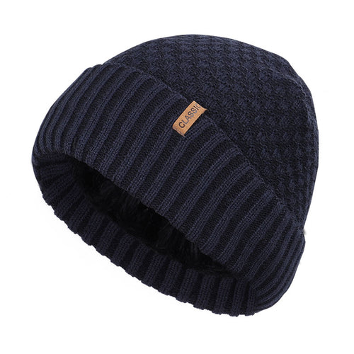 Check Pattern Thick Knit Beanie