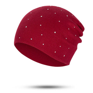 draft Fashion Pearl Winter Hat Women Solid Color Skullies Beanies Female Winter Beanies Caps Soft Warm Cotton Hats Ladies