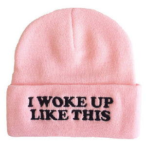 I Woke Up Like This Embroidered Beanie - Fashion Hat By Kiwi Hats