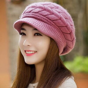 Thick Knitted Visor Beanie with Braided Detail - Fashion Hat By Kiwi Hats