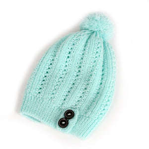 Crochet Beanie with Pom Pom and Button Detail - Fashion Hat By Kiwi Hats