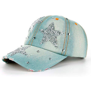 Two-Tone Denim Star Rhinestone Embellished Snapback - Fashion Hat By Kiwi Hats