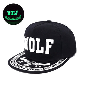 WOLF Front Slogan Printed Visor Fluorescent Snapback - Fashion Hat By Kiwi Hats