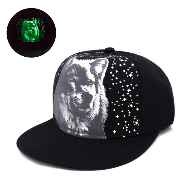 Sketch Printed Starry Wolf Fluorescent Snapback - Fashion Hat By Kiwi Hats