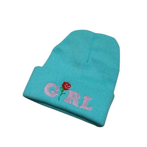 Girl with Rose Graphic Embroidered Beanie - Fashion Hat By Kiwi Hats