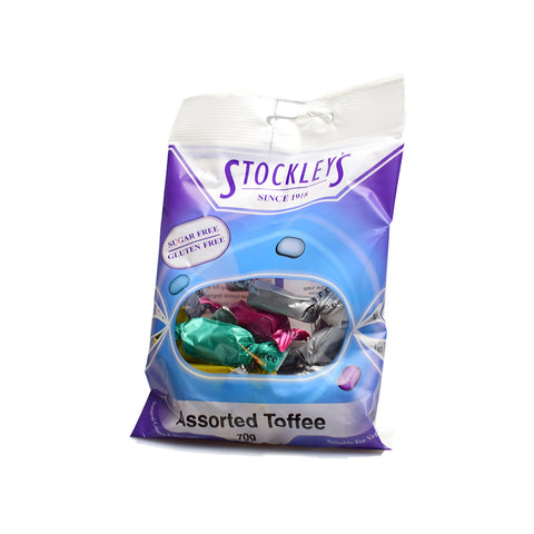 Stockley's Sugar Free Assorted Toffee Pre-Packed 70g - Sweet Victory Products Ltd