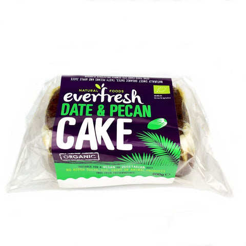 Everfresh No Added Sugar Vegan Organic Date & Pecan Cake 400g - Sweet Victory Products Ltd