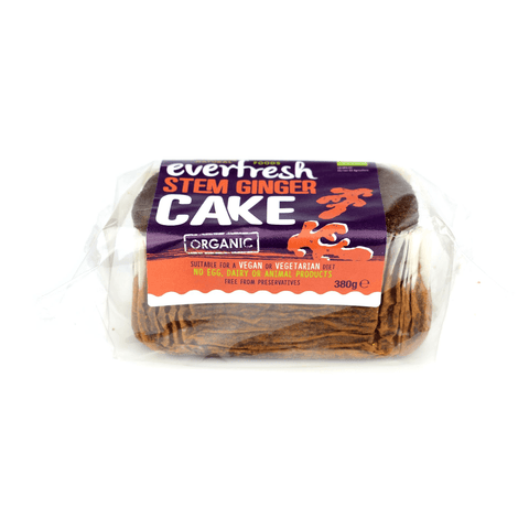 Everfresh No Added Sugar Vegan Organic Stem Ginger Cake 380g - Sweet Victory Products Ltd