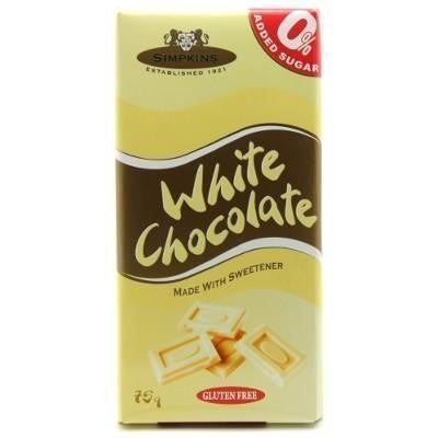 Simpkins No Added Sugar and Gluten Free White Chocolate Bar 75g - Sweet Victory Products Ltd