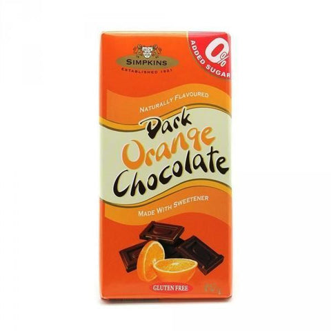 Simpkins No Added Sugar Gluten Free Dark Orange Chocolate Bar 75g - Sweet Victory Products Ltd