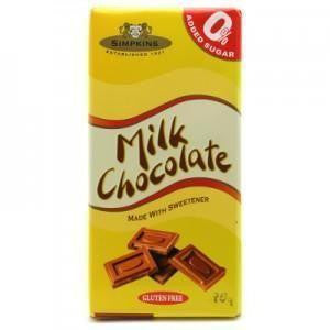 Simpkins No Added Sugar Gluten Free Milk Chocolate Bar 75g