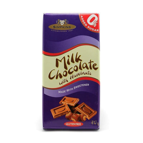 Simpkins No Added Sugar Gluten Free Milk Hazelnut Chocolate Bar 75g - Sweet Victory Products Ltd