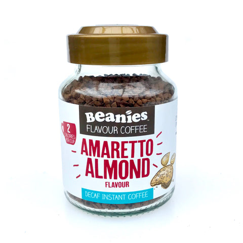 Beanies Flavoured Amaretto Almond Decaffeinated Coffee 50g - Sweet Victory Products Ltd