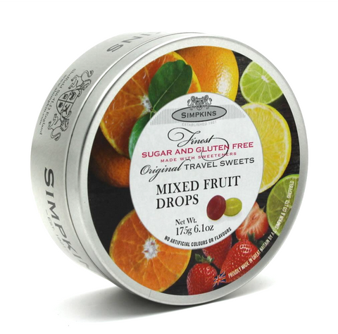 Simpkins Sugar Free Mixed Fruit Drops Travel Tin 175g - Sweet Victory Products