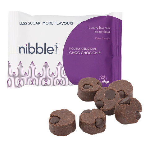 nibble simply protein low carb bites doubly choc choc chip