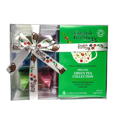 English Tea Shop Organic Green Tea Collection Prism Teas 12x24g - Sweet Victory Products Ltd
