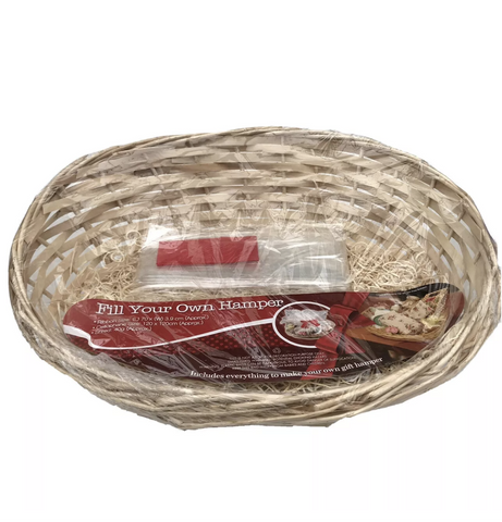 Oval Wicker Basket Gift Hamper Kit - Red