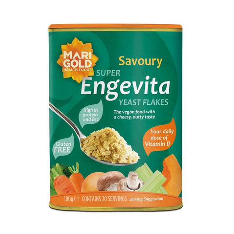 Marigold Engevita Nutritional Yeast Flakes with B12 & Vit D 100g - Sweet Victory Products Ltd