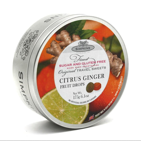 Simpkins Sugar Free Citrus Ginger Drops Travel Tin - Sweet Victory Products Ltd