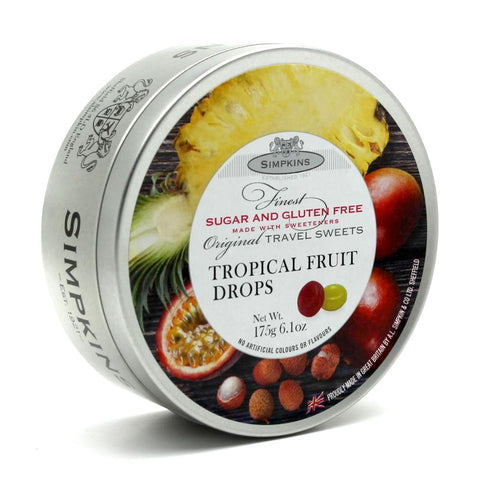 Simpkins Sugar Free Tropical Fruit Drops Travel Tin - Sweet Victory Products Ltd