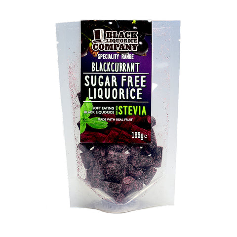 Black Liquorice Company Sugar Free Soft Blackcurrant and Liquorice 165G - Sweet Victory Products Ltd