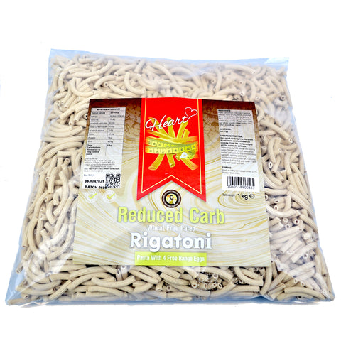 Heart Cafe Low Carb Wheat Free Rigatoni Pasta 1kg - Sweet Victory Products Ltd