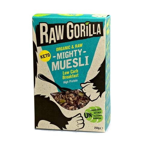 Raw Gorilla Keto Organic Zero Sugar Mighty Muesli 250g - Sweet Victory Products Ltd