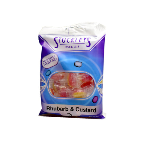 Stockley's Sugar Free Rhubarb & Custard Pre-Packed 70g - Sweet Victory Products Ltd