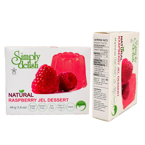 Simply delish Sugar Free Vegan Jelly Dessert Raspberry 44g - Sweet Victory Products