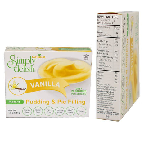 Simply delish Sugar Free Instant Pudding Mix Vanilla 44g - Sweet Victory Products Ltd