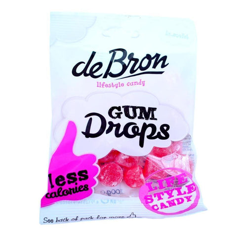 de Bron Sugar Free Raspberry Gum Drops Sweets 100g - Sweet Victory Products