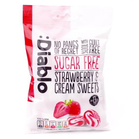 Diablo Sugar Free Strawberry and Cream Sweets 75g - Sweet Victory Products Ltd
