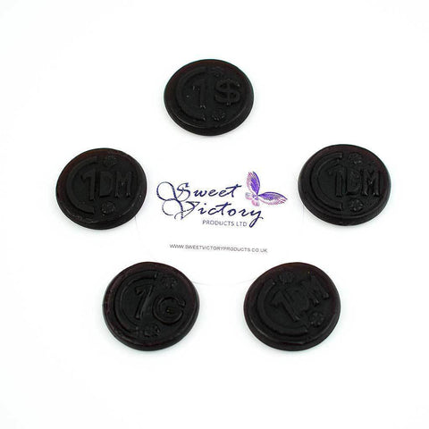 de bron Sugar Free Sweets liquorice coins 100g - Sweet Victory Products Ltd