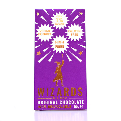 Wizards Magic Vegan No Added Sugar Plain Dark Chocolate Bar 55g - Sweet Victory Products Ltd