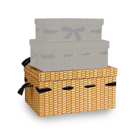 Wicker Effect Print Gift Hamper Box - Large - Sweet Victory Products Ltd