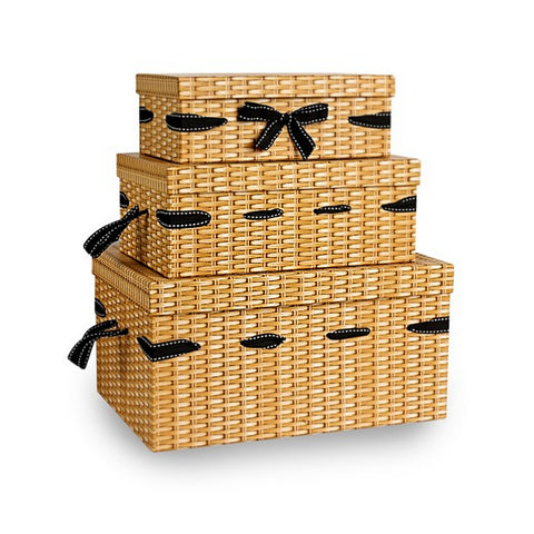 Wicker Effect Print Gift Hamper Boxes set of 3 - Sweet Victory Products Ltd