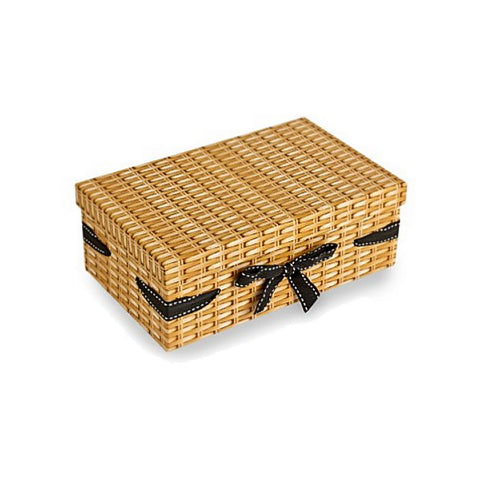 Wicker Effect Print Gift Hamper Box - Small - Sweet Victory Products Ltd