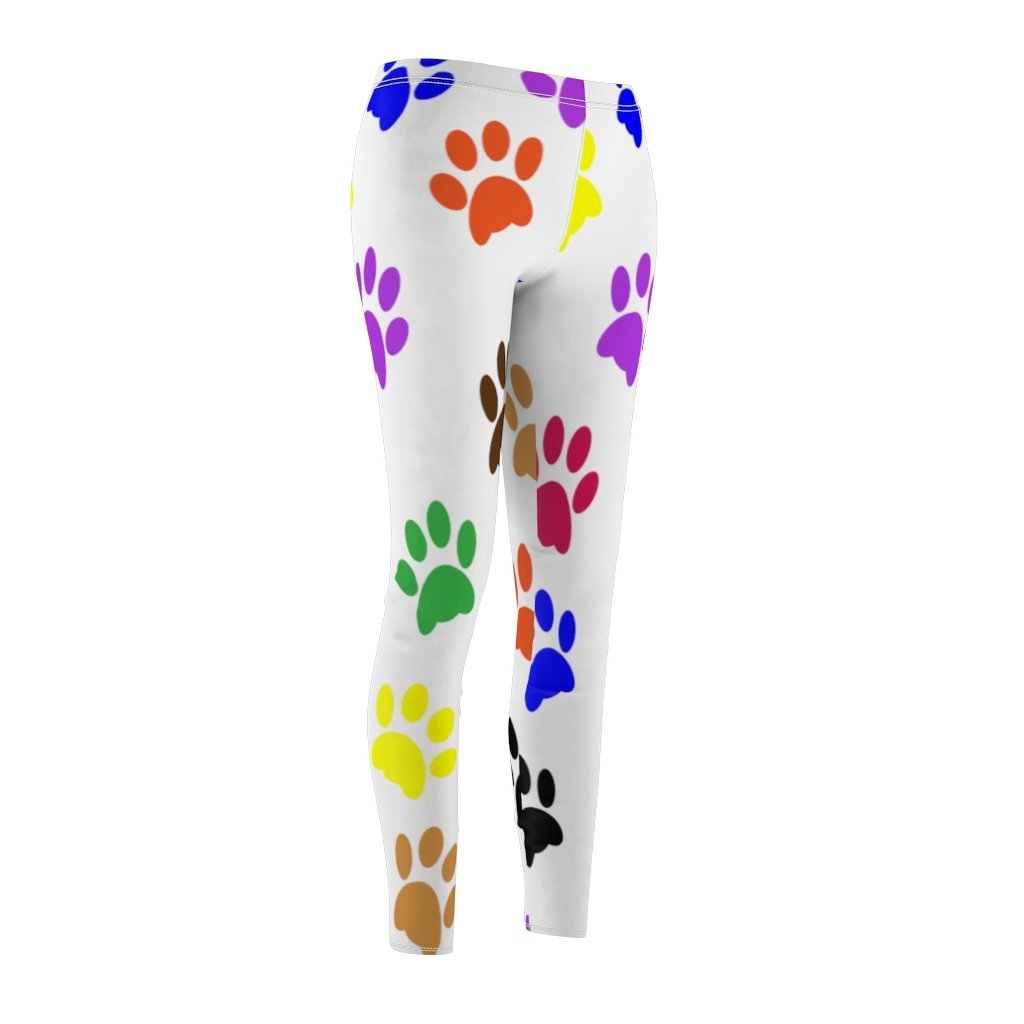Colorful Paw Print Casual Leggings - White